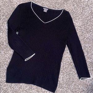 Black V-Neck Cable knit sweater